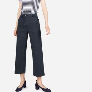 Everlane Wide-Leg Navy Crop Pants